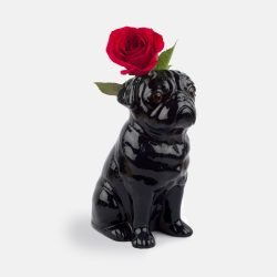 Pug Stoneware Vase (Black)